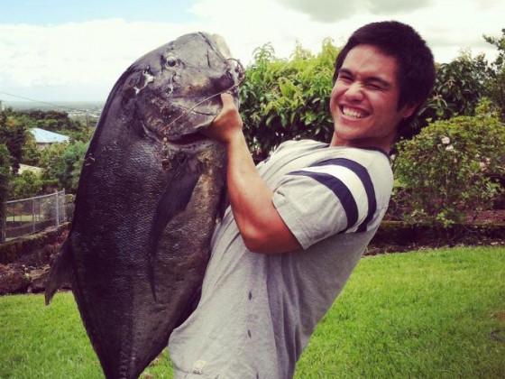 1st Ulua taken spearfishing,, 43lbs, leader still in its mouth from a scrap