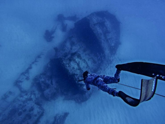 Judah diving on a wreck!