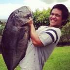 1st Ulua taken spearfishing,, 43lbs, leader still in its mouth from a scrap