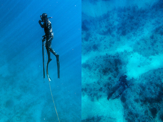 Mark and I freediving off Hwd.